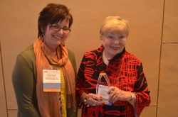 Pat Keogh (right) received the Lifetime Achievement Award on April 30, 2016. Pictured here with Anita Cellucci, MSLA president.