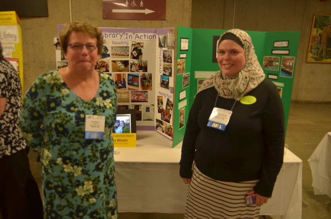 Super Librarians Amy Bloom (Wilson Middle, Natick) and Rachel Bouhanda (Billerica High School)  with their Awards Expo displays