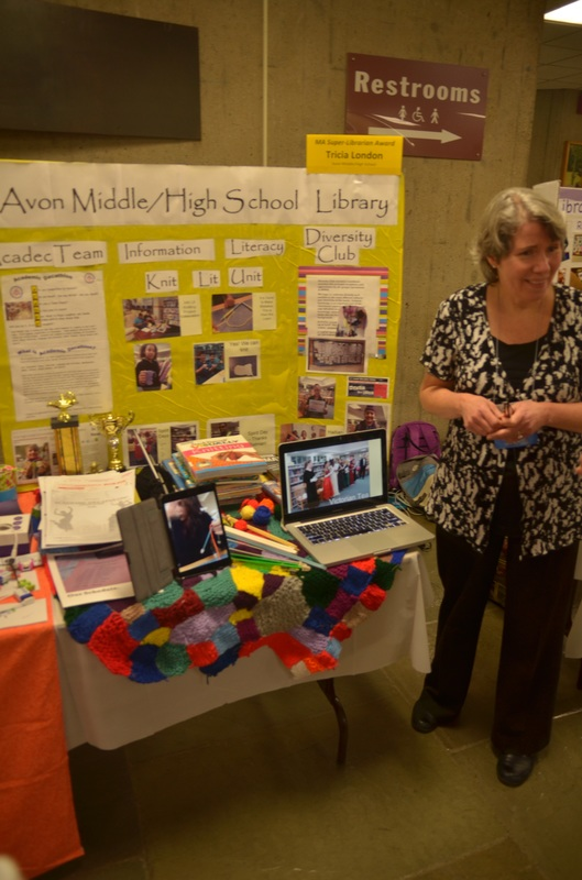 Super Librarian Tricia London  with her Awards Expo display: Avon Middle/High School