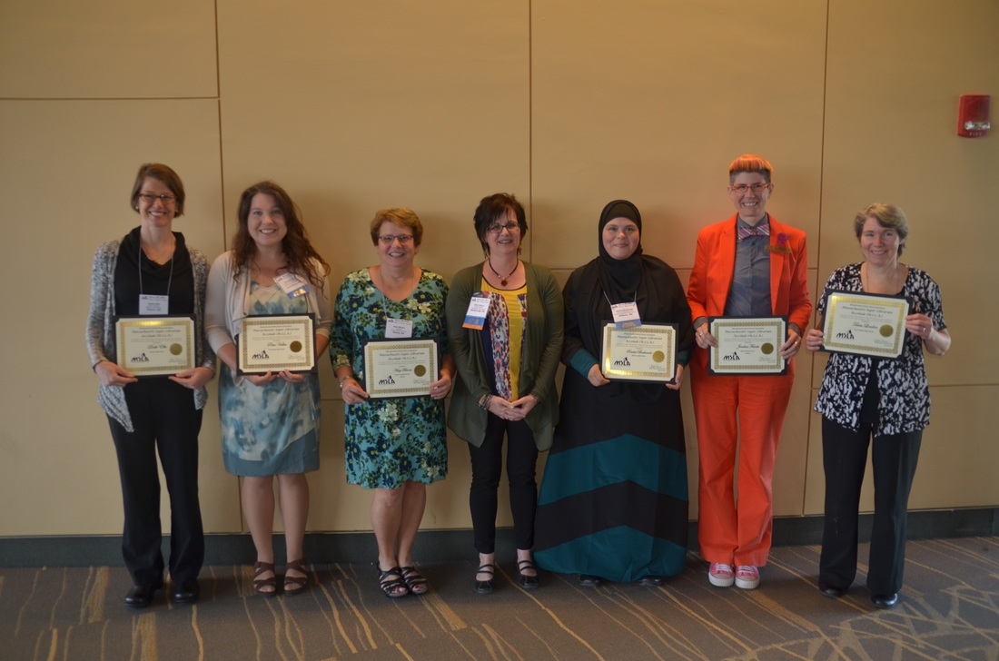 M.S.L.A. (Super Librarian Award) winners (l-r): Deeth Ellis, Pam Vallee, Amy Bloom, MSLA President  Anita Cellucci, Rachel Bouhanda, Jordan Funke, Tricia London