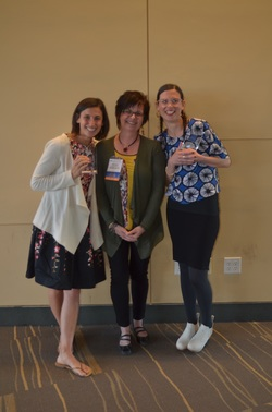 Ellen Berne Pathfinder Award winners, Kendall Boninti (left) and Liz Phipps-Soeriro (right) with MSLA president Anita Cellucci