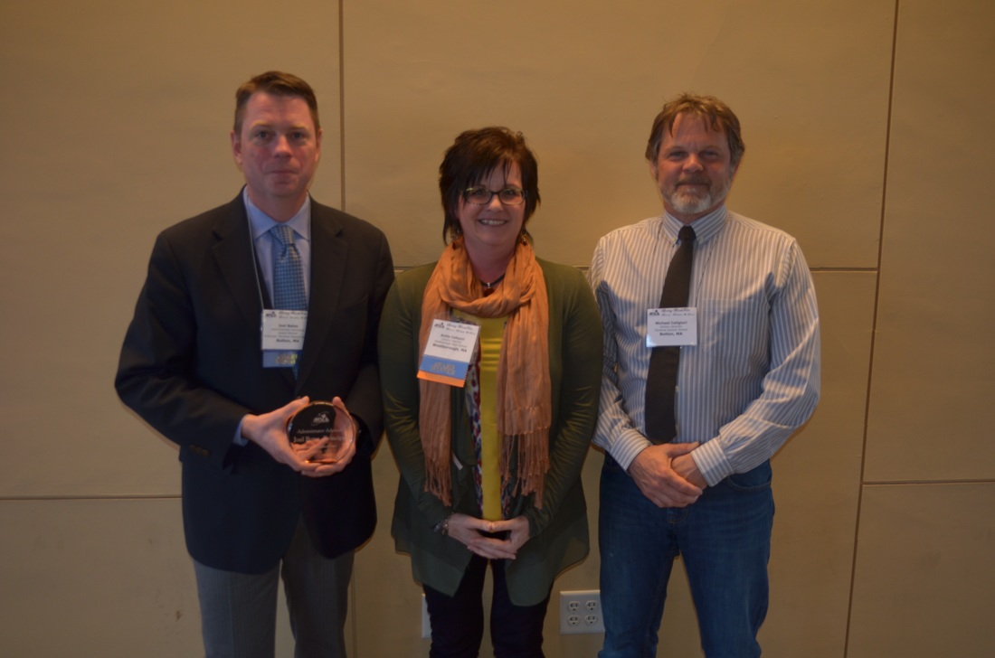 Joel Bates, Principal at Florence Sawyer Elementary School in Nashoba District, received the Admistrator Advocate Award. Pictured with MSLA president Anita Cellucci (center) and Michael Caligiuri who wrote the nomination.