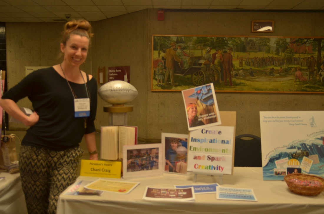 President's Award winner Chani Craig (Turners Falls High School / Great Falls Middle) with her Awards Expo display