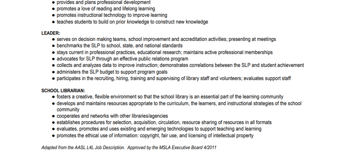 job description  school librarian