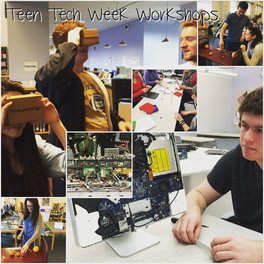 A collection of different images combined into one of students doing various technology-centric activities during Teen Tech Week